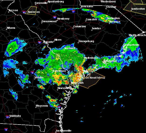 Radar Image for Severe Thunderstorms near Edisto Beach, SC at 6/9/2015 8:10 PM EDT