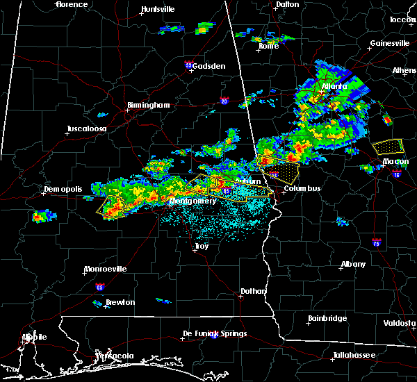 Radar Image for Severe Thunderstorms near Tallassee, AL at 3/25/2019 6:38 PM CDT