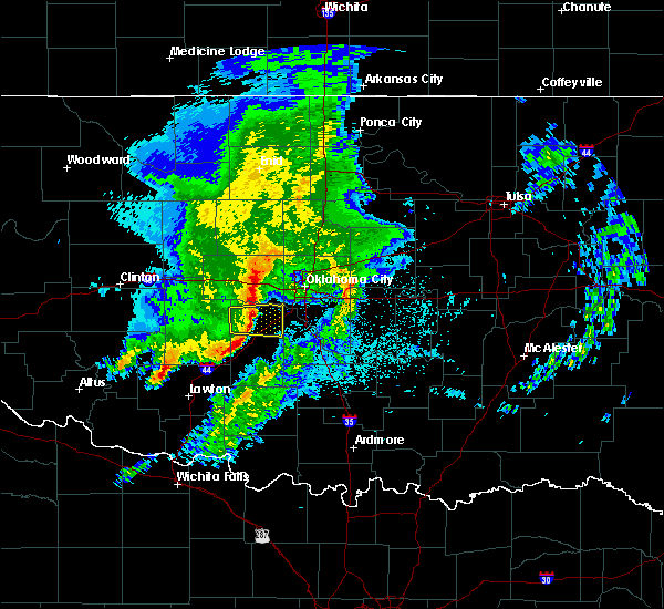 Radar Image for Severe Thunderstorms near Wellston, OK at 4/4/2019 1:11 AM CDT