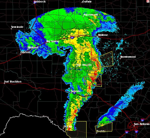 Radar Image for Severe Thunderstorms near Menard, TX at 4/13/2019 7:36 AM CDT