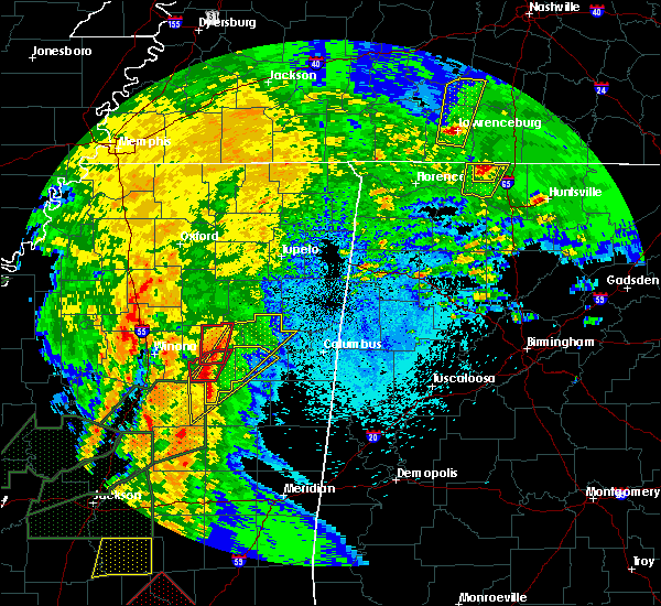 Radar Image for Severe Thunderstorms near Starkville, MS at 4/13/2019 8:44 PM CDT