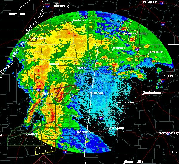 Radar Image for Severe Thunderstorms near Starkville, MS at 4/13/2019 9:02 PM CDT
