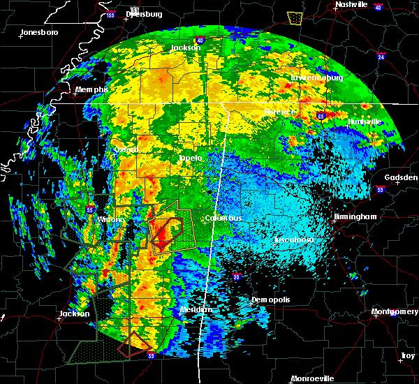 Radar Image for Severe Thunderstorms near Starkville, MS at 4/13/2019 10:00 PM CDT