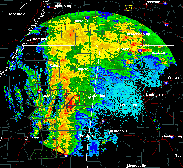 Radar Image for Severe Thunderstorms near Mississippi State, MS at 4/13/2019 10:03 PM CDT