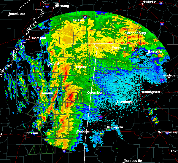 Radar Image for Severe Thunderstorms near Mississippi State, MS at 4/13/2019 10:16 PM CDT