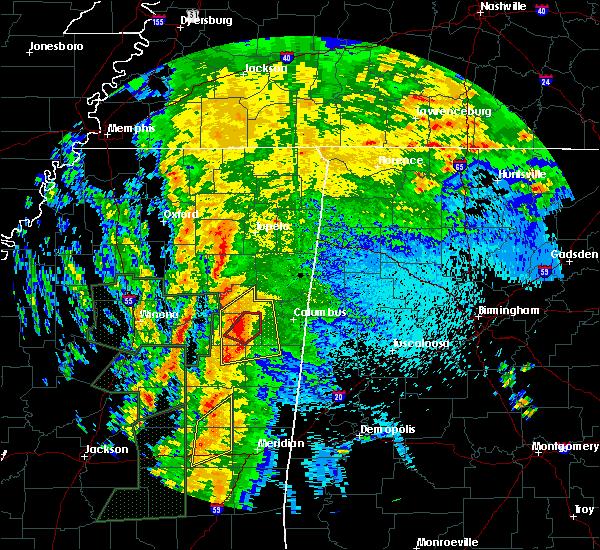 Radar Image for Severe Thunderstorms near Starkville, MS at 4/13/2019 10:16 PM CDT