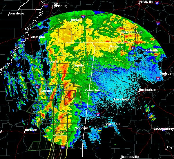Radar Image for Severe Thunderstorms near Mississippi State, MS at 4/13/2019 10:19 PM CDT