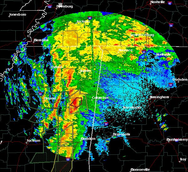 Radar Image for Severe Thunderstorms near Starkville, MS at 4/13/2019 10:19 PM CDT