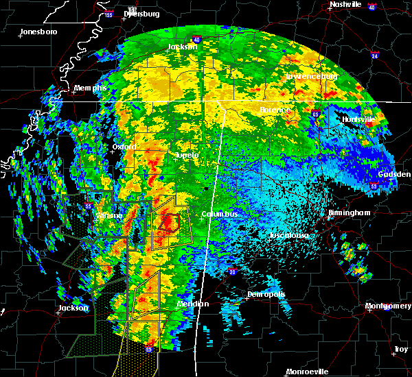 Radar Image for Severe Thunderstorms near Mississippi State, MS at 4/13/2019 10:22 PM CDT