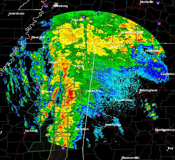 Radar Image for Severe Thunderstorms near Starkville, MS at 4/13/2019 10:22 PM CDT