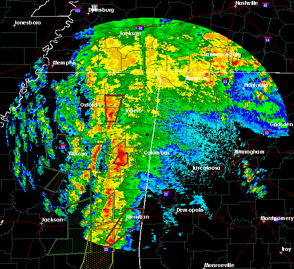 Radar Image for Severe Thunderstorms near Starkville, MS at 4/13/2019 10:25 PM CDT