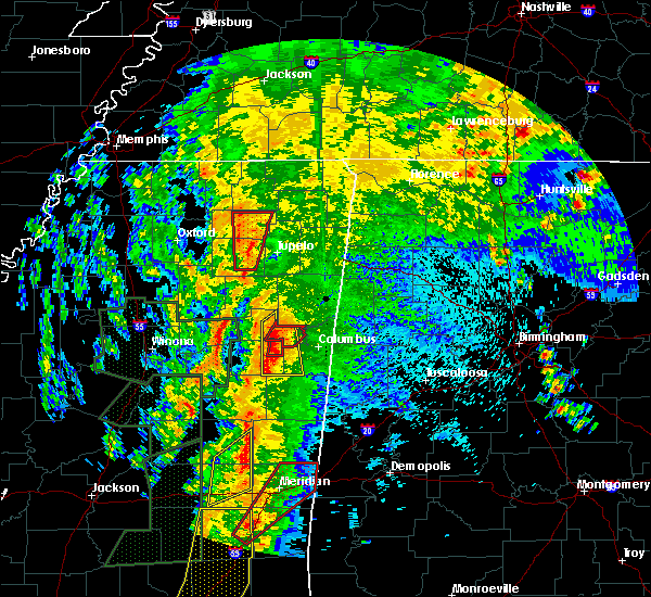 Radar Image for Severe Thunderstorms near Mississippi State, MS at 4/13/2019 10:31 PM CDT