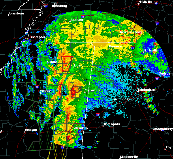 Radar Image for Severe Thunderstorms near Mississippi State, MS at 4/13/2019 10:40 PM CDT
