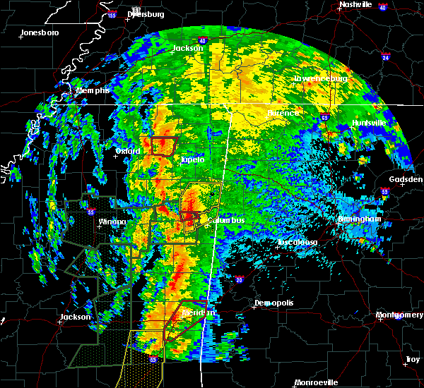 Radar Image for Severe Thunderstorms near Blue Springs, MS at 4/13/2019 10:56 PM CDT