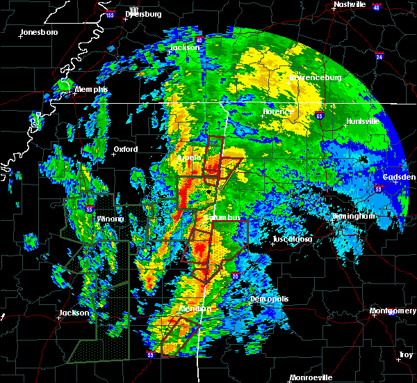 Radar Image for Severe Thunderstorms near Ethelsville, AL at 4/13/2019 11:46 PM CDT