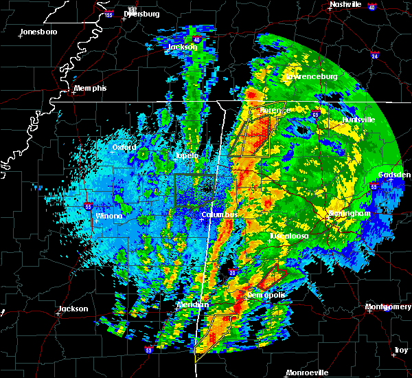 Radar Image for Severe Thunderstorms near Russellville, AL at 4/14/2019 1:45 AM CDT