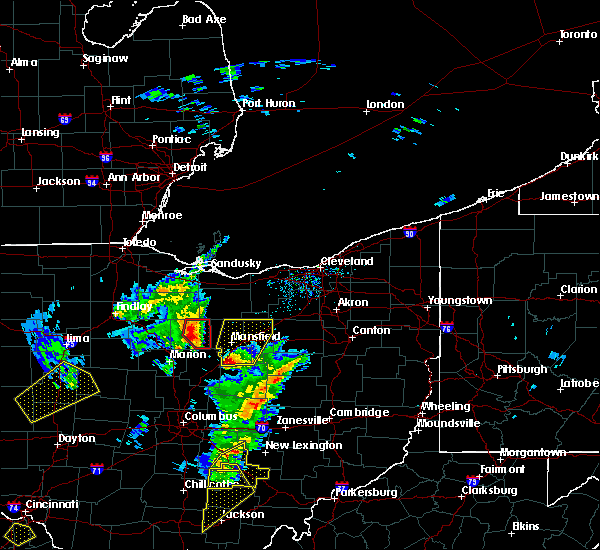 Radar Image for Severe Thunderstorms near Mansfield, OH at 4/14/2019 4:38 PM EDT