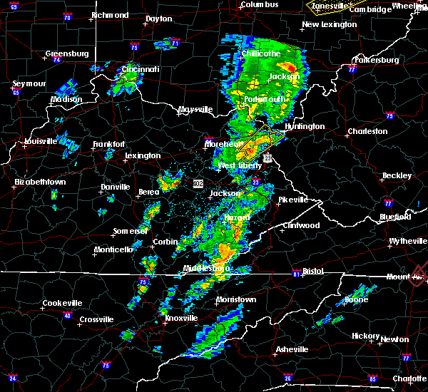 Radar Image for Severe Thunderstorms near Huntington, WV at 4/14/2019 5:29 PM EDT