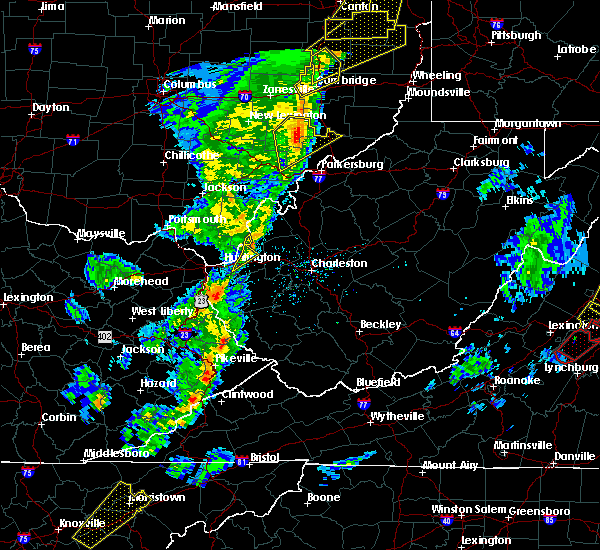 Radar Image for Severe Thunderstorms near Barboursville, WV at 4/14/2019 6:10 PM EDT