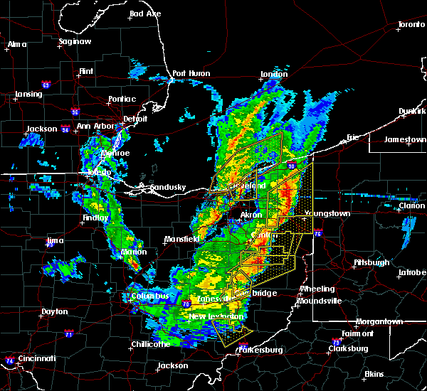Radar Image for Severe Thunderstorms near Kirtland Hills, OH at 4/14/2019 6:16 PM EDT