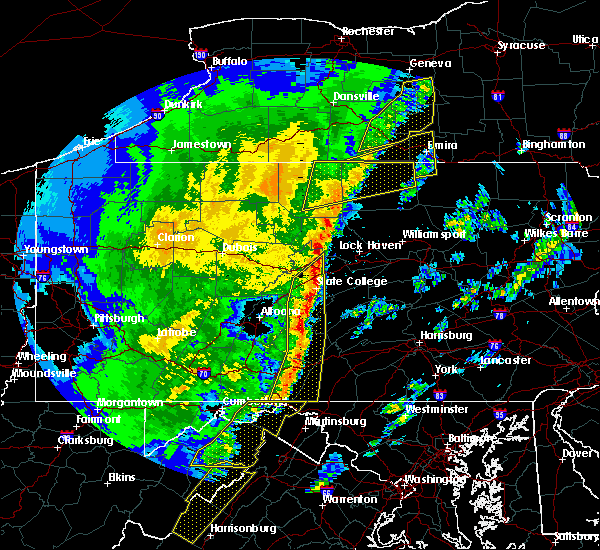 Radar Image for Severe Thunderstorms near Julian, PA at 4/14/2019 11:32 PM EDT
