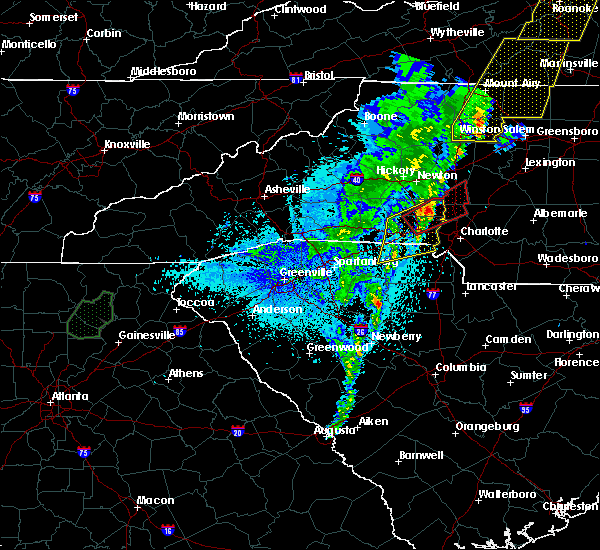 Radar Image for Severe Thunderstorms near Spencer Mountain, NC at 4/14/2019 11:57 PM EDT