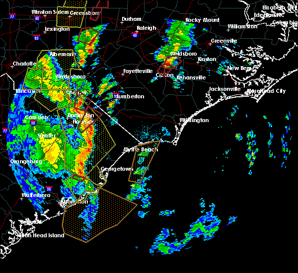 Radar Image for Severe Thunderstorms near Pembroke, NC at 4/19/2019 3:43 PM EDT