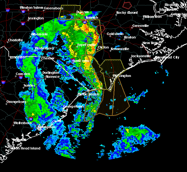 Radar Image for Severe Thunderstorms near Leland, NC at 4/19/2019 5:31 PM EDT