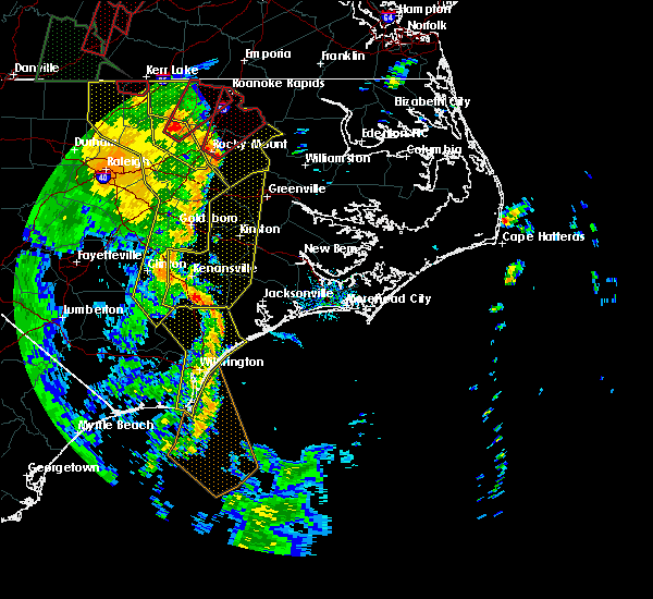 Radar Image for Severe Thunderstorms near Jacksonville, NC at 4/19/2019 6:15 PM EDT