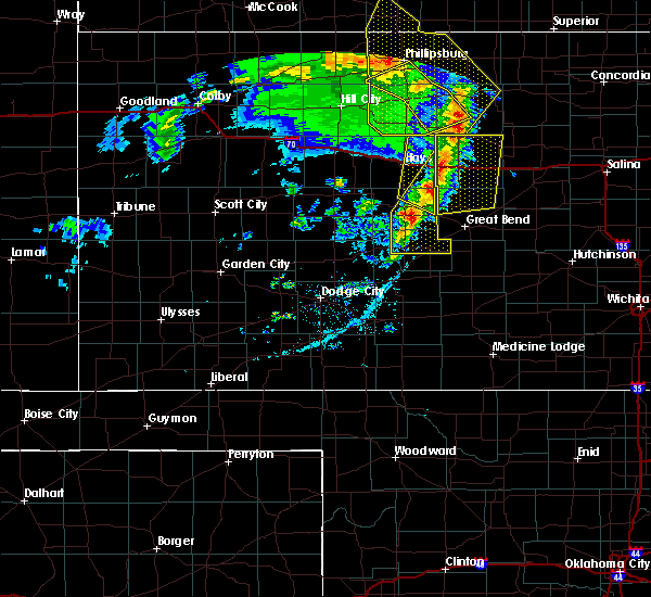 Radar Image for Severe Thunderstorms near La Crosse, KS at 4/21/2019 8:13 PM CDT