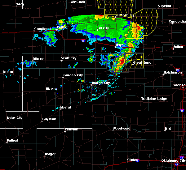 Radar Image for Severe Thunderstorms near Rush Center, KS at 4/21/2019 8:34 PM CDT