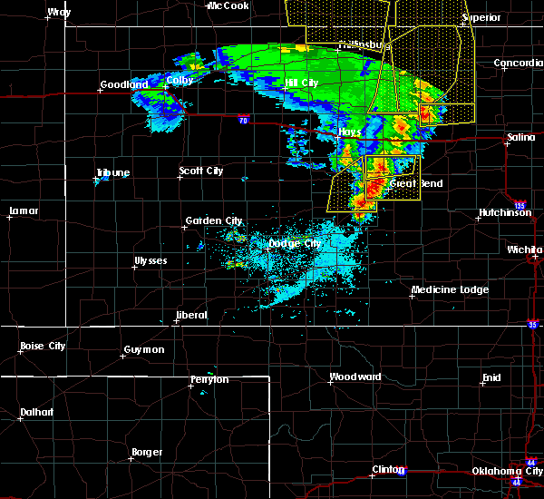 Radar Image for Severe Thunderstorms near Rush Center, KS at 4/21/2019 8:58 PM CDT