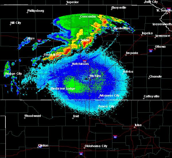 Radar Image for Severe Thunderstorms near Lyons, KS at 4/21/2019 11:26 PM CDT