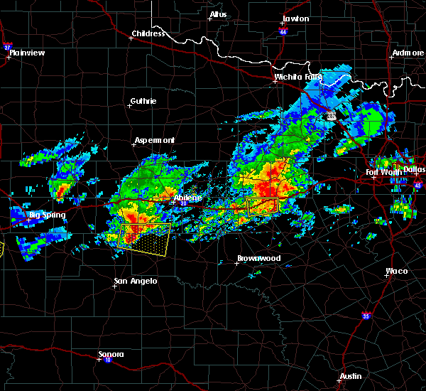 Radar Image for Severe Thunderstorms near Eastland, TX at 4/23/2019 7:25 PM CDT