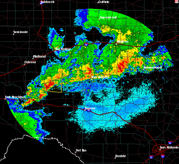 Radar Image for Severe Thunderstorms near Big Lake, TX at 4/24/2019 12:04 AM CDT