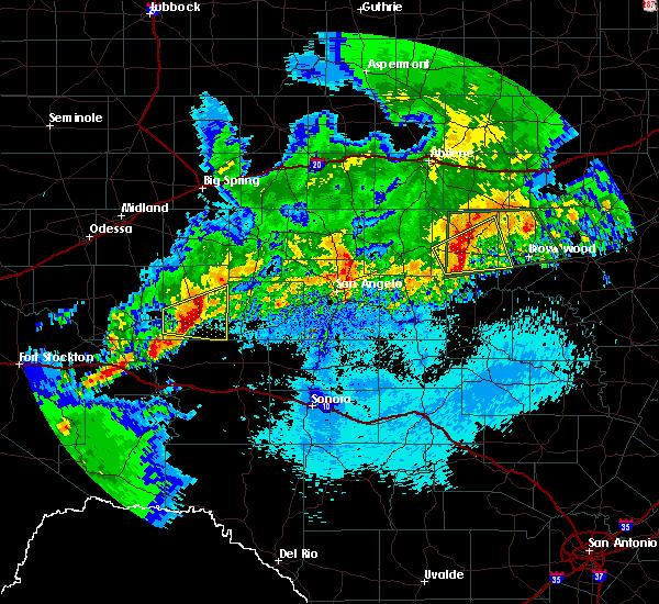 Radar Image for Severe Thunderstorms near Big Lake, TX at 4/24/2019 12:19 AM CDT