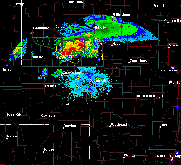 Radar Image for Severe Thunderstorms near Healy, KS at 4/28/2019 8:20 PM CDT