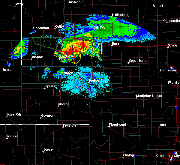 Radar Image for Severe Thunderstorms near Healy, KS at 4/28/2019 8:29 PM CDT