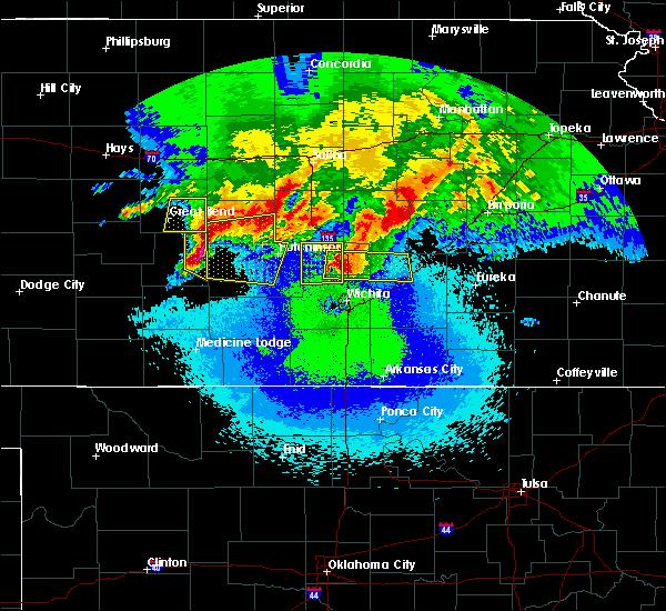 Radar Image for Severe Thunderstorms near Stafford, KS at 4/29/2019 1:27 AM CDT