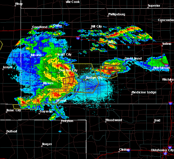 Radar Image for Severe Thunderstorms near Moscow, KS at 5/6/2019 9:54 PM CDT