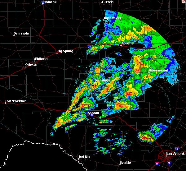 Radar Image for Severe Thunderstorms near Menard, TX at 5/8/2019 6:50 AM CDT