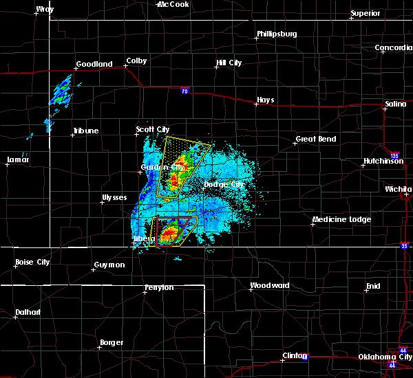Radar Image for Severe Thunderstorms near Plains, KS at 5/17/2019 7:44 PM CDT