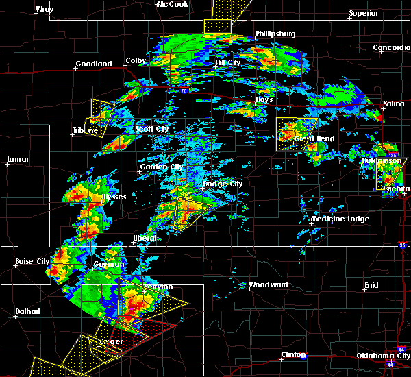 Radar Image for Severe Thunderstorms near Wilroads Gardens, KS at 5/23/2019 6:10 PM CDT