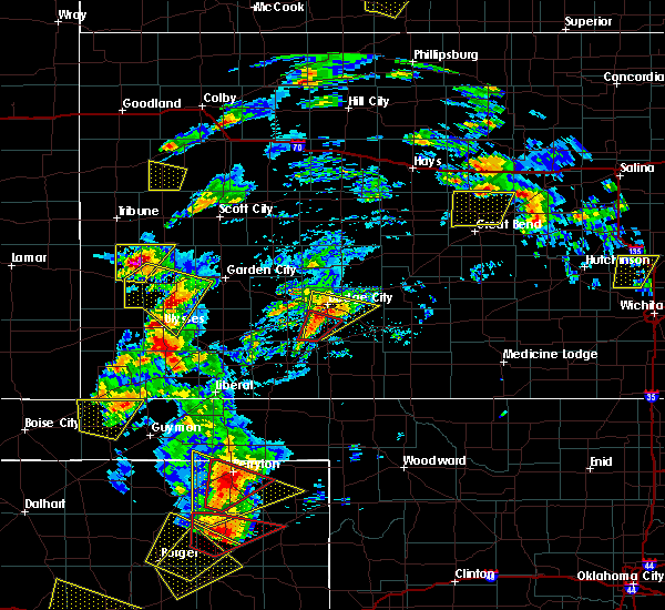 Radar Image for Severe Thunderstorms near Wilroads Gardens, KS at 5/23/2019 6:34 PM CDT