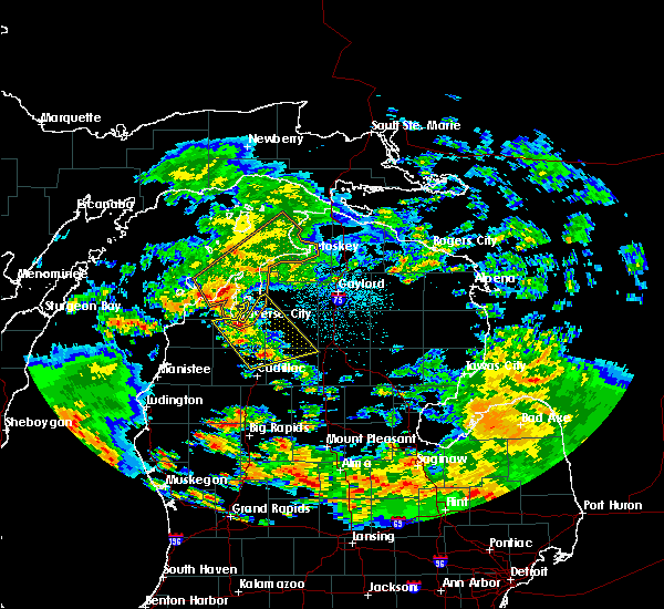 Radar Image for Severe Thunderstorms near South Boardman, MI at 5/25/2019 3:46 AM EDT