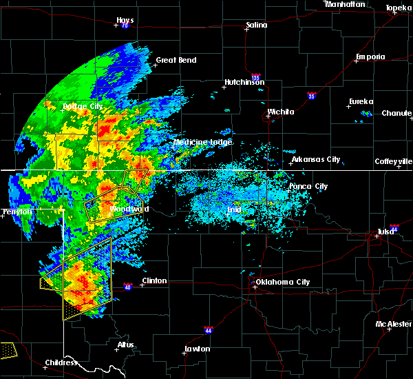 Radar Image for Severe Thunderstorms near Woodward, OK at 5/25/2019 6:08 PM CDT