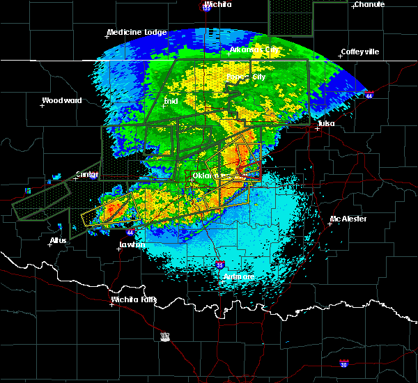 Radar Image for Severe Thunderstorms near Prague, OK at 5/25/2019 11:43 PM CDT