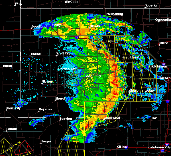 Radar Image for Severe Thunderstorms near La Crosse, KS at 5/27/2019 12:05 AM CDT