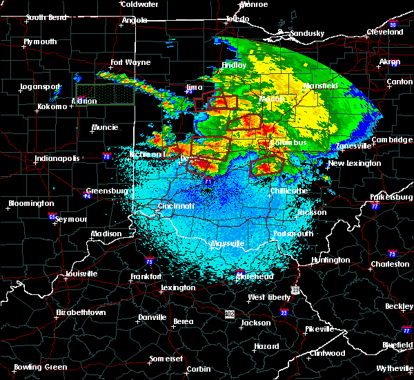 Radar Image for Severe Thunderstorms near Dayton, OH at 5/27/2019 11:28 PM EDT