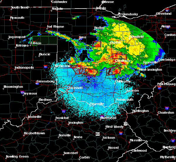 Radar Image for Severe Thunderstorms near Westerville, OH at 5/27/2019 11:44 PM EDT